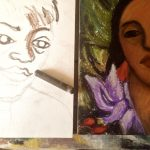 oil pastel in process